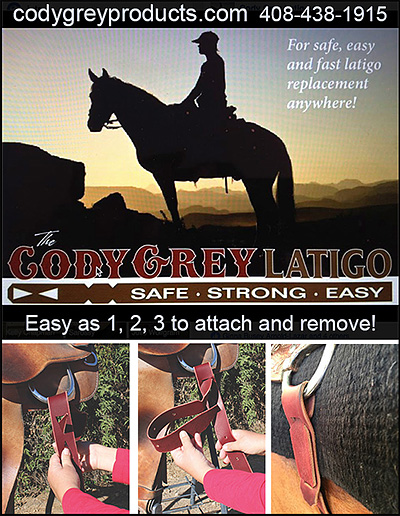 Cody Grey Latigo for Horse Saddles