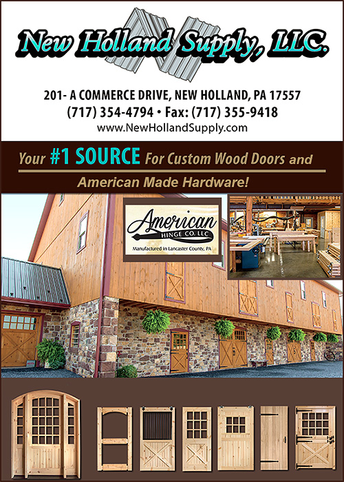 The Custom Wood Doors and Handmade Door Hardware which New Holland Supply is known for will add style value functionality and beauty to your barn. & Show Equine Professional Company