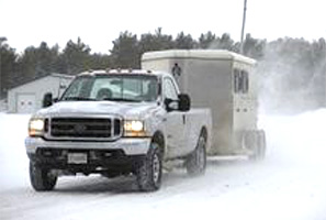 Towing a Horse Trailer in Winter weather.