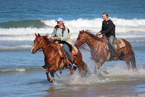 Riding Horses in the water is fun!